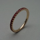 Nr. 98, 750/000 Rosegold, 40 Safire rot (behandelt) (1,5 mm, 0,68 ct), red. Fishtail